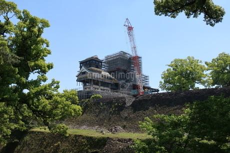 地震で倒壊した熊本城の石垣の写真素材 [FYI01272803]
