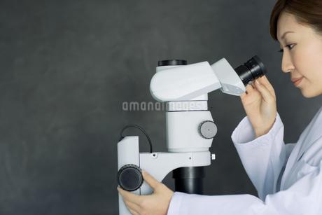 顕微鏡を覗く白衣を着た女性の写真素材 [FYI01274388]
