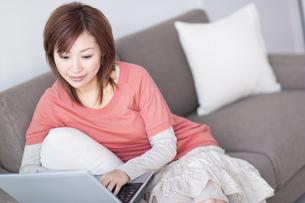 ソファに座ってパソコンを見る女性の写真素材 [FYI01274852]