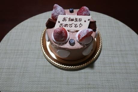 イチゴとプレートが乗った誕生日ケーキの写真素材 [FYI01275445]