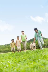 公園を散歩する家族と犬の写真素材 [FYI01277650]