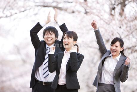 桜の木の下でガッツポーズをしている新入社員の写真素材 [FYI01277683]