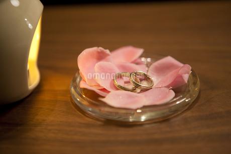 花びらの上に置かれた結婚指輪の写真素材 [FYI01281302]