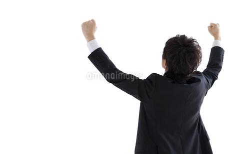 ガッツポーズするビジネスマンの後姿の写真素材 [FYI01281432]