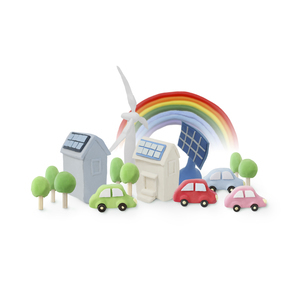 エコカーと太陽光発電と風力発電の写真素材 [FYI01282893]