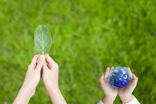葉を持つ女性の手と地球を持つ女の子の手の写真素材 [FYI01282929]