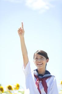 人差し指を立てる笑顔の女子学生とヒマワリ畑の写真素材 [FYI01285057]