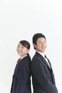 笑顔の男女中高生2人の写真素材 [FYI01286424]