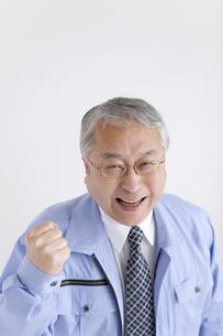 ガッツポーズする中高年ビジネスマンの写真素材 [FYI01286494]