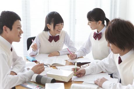 勉強する男女中高生4人の写真素材 [FYI01287090]