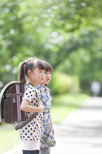 手をつないでいる小学生の女の子2人の写真素材 [FYI01288287]
