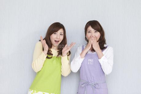 驚いた表情の主婦2人の写真素材 [FYI01289344]