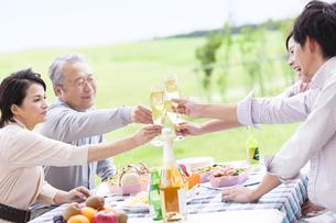 シャンパングラスで乾杯する笑顔の家族の写真素材 [FYI01290008]