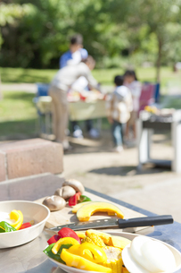 調理台の上の野菜と家族の写真素材 [FYI01290534]