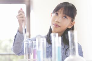 実験している小学生の女の子の写真素材 [FYI01290680]