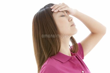 額に手をあてている女性の写真素材 [FYI01291978]