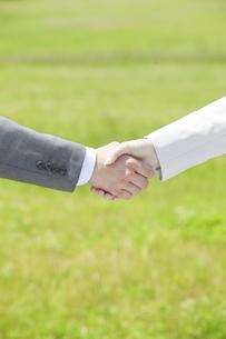 握手するビジネスマンとビジネスウーマンの手の写真素材 [FYI01292896]