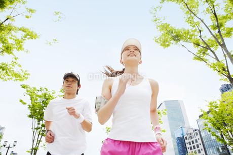 ジョギングをする若いカップルの写真素材 [FYI01293166]