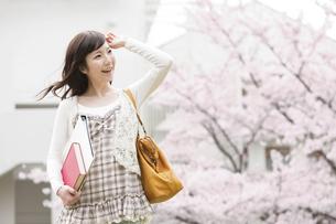 桜と笑顔の女性の写真素材 [FYI01293606]