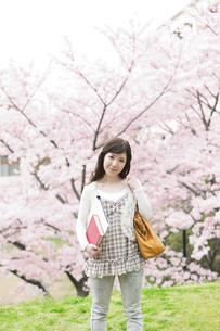 桜と笑顔の女性の写真素材 [FYI01293753]