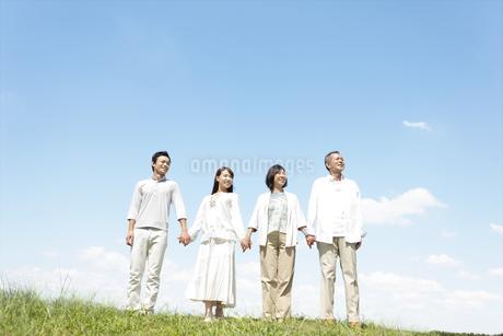 手をつなぐ家族4人の写真素材 [FYI01294776]