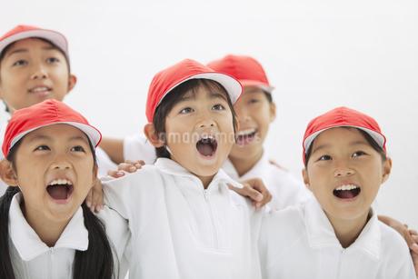 叫ぶ体操服姿の小学生の写真素材 [FYI01295380]