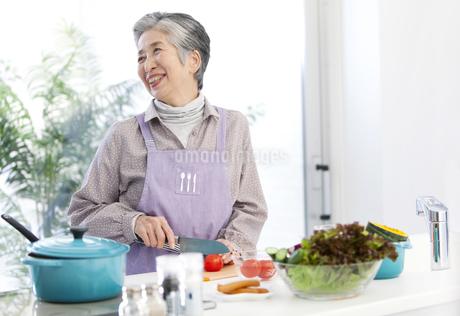 調理をする中高年女性の写真素材 [FYI01295548]