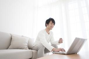 パソコンを操作する男性の写真素材 [FYI01295618]