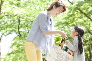 買い物袋を持つ母娘の写真素材 [FYI01297038]