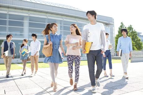 話をしている大学生8人の写真素材 [FYI01297483]