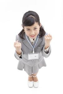 ガッツポーズをしている女の子の写真素材 [FYI01297507]