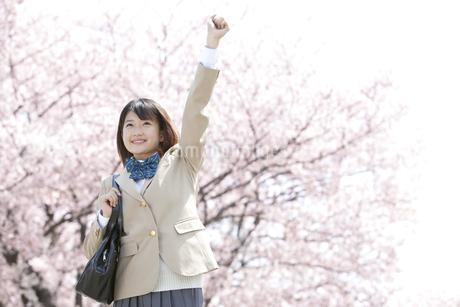 ガッツポーズをしている女子高生の写真素材 [FYI01298364]