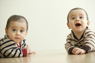 遠くを見る双子の赤ちゃんの写真素材 [FYI01300654]