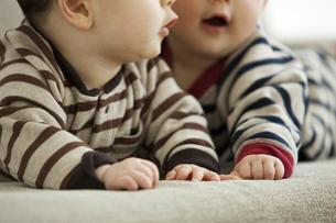 双子の赤ちゃんの手の写真素材 [FYI01300706]
