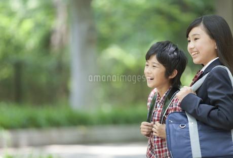 笑顔の姉と弟の写真素材 [FYI01301904]