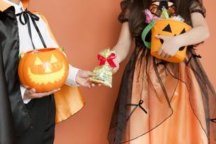 ハロウィンの衣装を着た男の子と女の子の写真素材 [FYI01302278]
