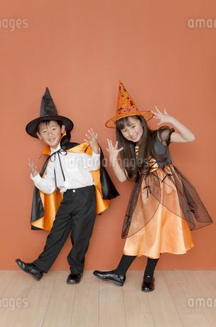ハロウィンの衣装を着た男の子と女の子の写真素材 [FYI01303111]