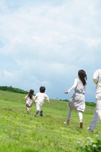 芝生を走る4人家族の写真素材 [FYI01303194]