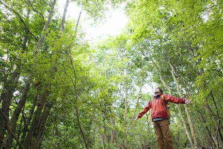 ハイキングをする男性の写真素材 [FYI01303720]