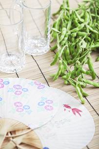 うちわと枝豆とビールジョッキの写真素材 [FYI01304916]