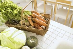 キッチンに置かれた新鮮な野菜の集合の写真素材 [FYI01305783]