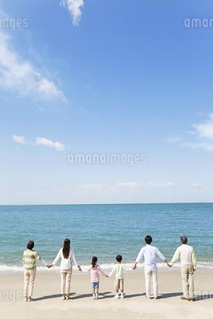 海岸で手をつなぐ3世代家族の後姿の写真素材 [FYI01306306]