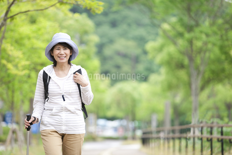 トレッキングをする中年女性の写真素材 [FYI01307136]
