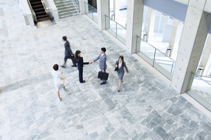 握手するビジネスマンとビジネスウーマンの写真素材 [FYI01308973]