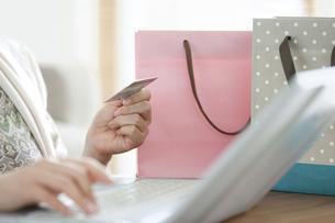 クレジットカードを持ってPCを使う女性の手元の写真素材 [FYI01309740]