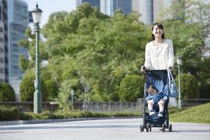 赤ちゃんと散歩する女性の写真素材 [FYI01311546]