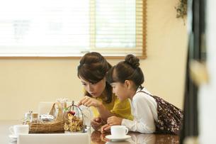 雑貨を見ている母と娘の写真素材 [FYI01311844]