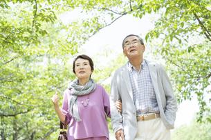 公園を歩くシニア夫婦の写真素材 [FYI01312380]