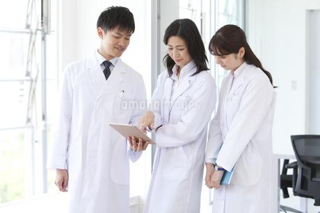 タブレットPCを見ている研究員の写真素材 [FYI01314953]