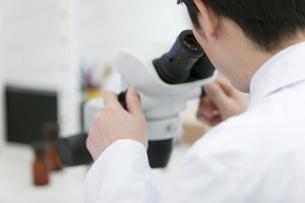顕微鏡を覗く研究員の写真素材 [FYI01316743]